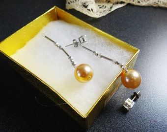 Vintage Creamy Golden Pearl Sterling Silver Stunning Earring Jacket Posts or Studs Bridal Dangle