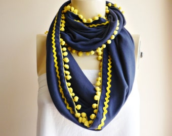 Navy Infinity Scarf/Spring/Fall /Winter Scarf / with Yellow Pompom and Rigrag