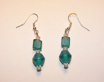 Teal and Clear Glass Earrings