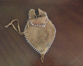 Vintage Native American Leather Beaded Tulip Bag