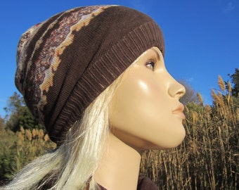 BOHO Clothing Skull Cap Beanie Pashmina Scarf Print Lightweight Knit Hat Women's Brown Printed Skully A1384