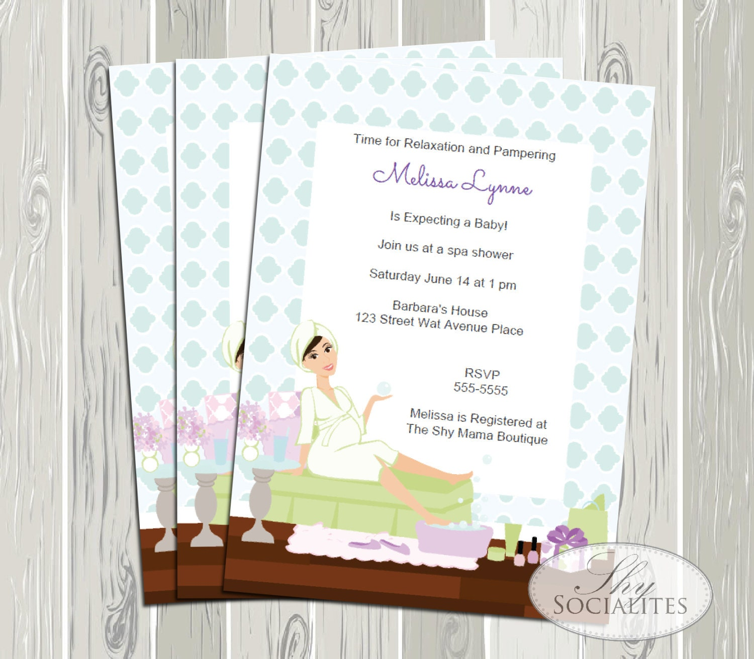 Spa Baby Shower Invitation Spa Party Relaxing Baby Shower