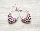 Polymer clay fashion earrings ombre purple bubbles arrow shaped asymmetrical geometrical dangle earrings