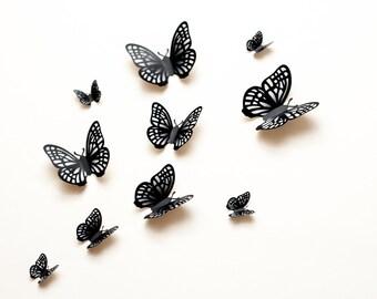 3D wall butterflies: grey winter frost gradient butterfly wall art for nursery, dorm, whimsical home decor