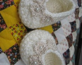 Ivory Color Crocheted Baby Booties With Three Crocheted Flowers