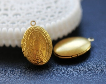 10pcs Vintage Raw Brass Locket Pendant  Charms/Pendants- 16x24 mm (LOCK-57)