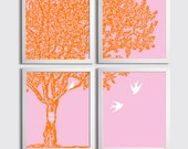 Personalized family tree baby parents nursery carved initials pink orange choose colors set of 4