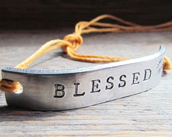 Friendship Bracelet ONE Hand Stamped Couples Jewelry Name Tie On Hemp Cord Personalized Jewelry BLESSED