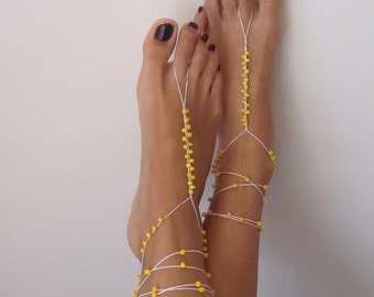Barefoot Sandals, bead, whites, wedding , Bikini , Women , Beach , Bridal Shoes , Bridal Sandals , Bridal Jewelry ,shoes , READY TO SHIP