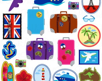 Travel Clipart Clip Art, Vacation Beach Clipart Clip Art Vectors - Commercial and Personal