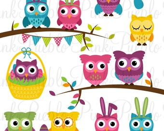 Easter Owl Clipart Clip Art, Spring Owl Clipart Clip Art Vectors - Commercial and Personal