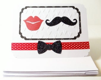 Embossed Wedding Cards- Mustache- Lips- Bride- Groom- Thank You- Boxed Set- Handmade