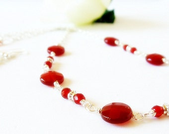 Carnelian Necklace- Silver Necklace- Wire Wrap Necklace- 2 Piece Necklace Set-  Gemstone Necklace- Necklace Earring Set- Beaded Necklace