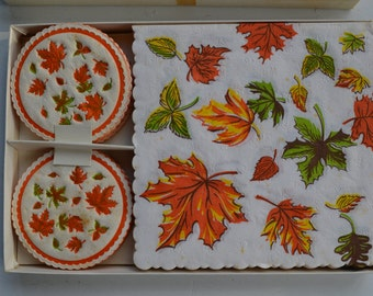 Vintage Paper Coasters and Napkins 1960s Fall Leaves Hostess Party Set Never Opened Very Cool