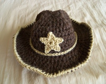 Baby hat - Brown Cowboy Hat with Star -Baby Cowboy Hat - Baby Western Hat-by JoJosBootique