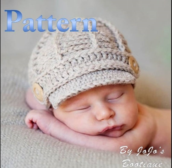 Free Crochet Pattern For Infant Newsboy Hat : PDF Newsboy Hat PATTERN Crochet Baby Newsboy Hat Pattern