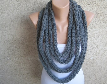 Chunky Infinity Scarf Loop Necklace, Rope Charcoal Gray Acrylic Wrap, Urban Fashion Women Accessories, Winter Warm Soft Knitted Loop Scarf