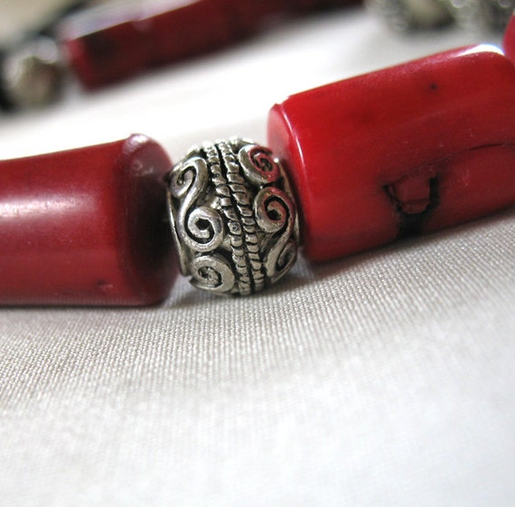 6 large Antiqued Silver Scroll Pattern Spacer Beads, Zinc Alloy, large hole,12mm x 8mm diameter, 6mm hole, pkg of 6