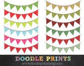 Christmas Buntings Pennant Banner - Patterned Triangle Banner - Digital Clip Art Printable -  Personal and Commercial Use - Instant Download