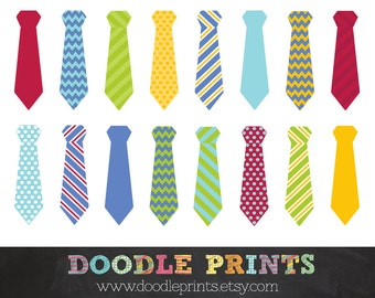 Tie Clipart - Digital Scrapbook Clip Art Printable - Little Man - Photo Booth Props - Personal & Commercial Use