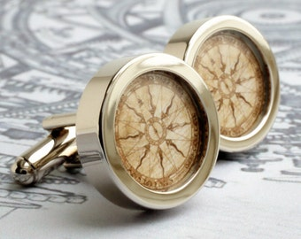 Compass Cufflinks in a Vintage Nautical Style PC348