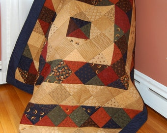 SALE, Quilt, Harvest Moon by Moda, Hand Quilted, Barn Raising