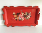 Vintage Red Hand Painted Toleware Serving Tray