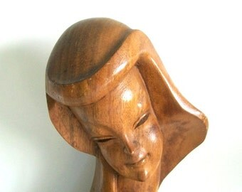 Vintage Hand Carved Bust of a Woman, Mid-Century