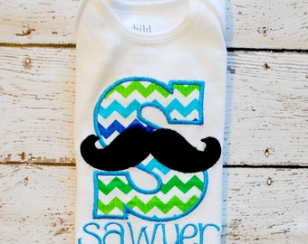 Boy Moustache Initial with Personalization Embroidered Shirt or body suit