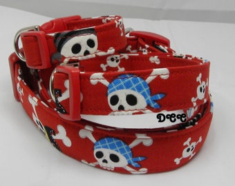 Dog Collar Limited Pirate Skulls Red Blue White Black Halloween Day of the Dead FUN Adjustable Collars D Ring FUN Choose Size Accessory