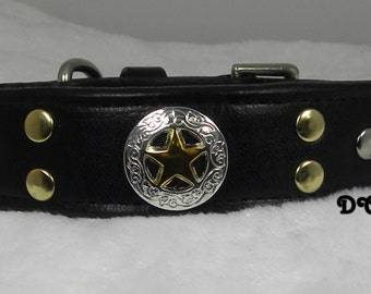 RTS Dog Collar LEATHER rich Bold Black with 3 Sheriff Stars Gold and Silver Studs Elegant Tapered from 1 inch to 5/8 inch with D Ring