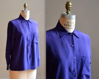 Vintage Purple Silk Shirt Size Medium// 90s Minimalist Silk Shirt