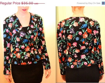 Vintage 90s Jacket with Floral Print Size Medium Silk // Vintage Floral Print Silk Jacket Medium
