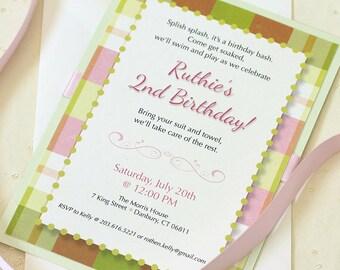 Pink Plaid Birthday Party Invitation, Pink Birthday Party