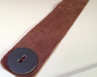Soft Brown Leather Cuff, with a Slate Button, Eco Friendly