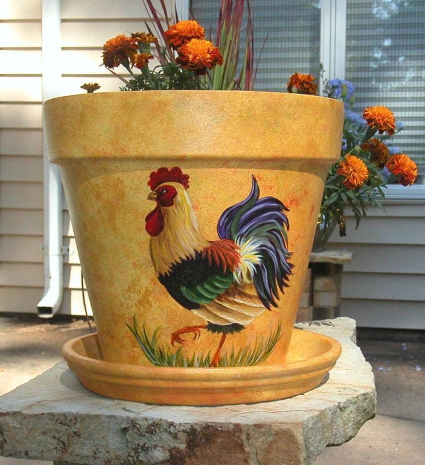 Flower Pots Terracotta: Painted Terracotta Flower Pot / Chicken By SmallTownTraditions