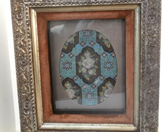 Historic Pre Civil War Picture Frame w Glass Beaded Design Insert Dated 1856