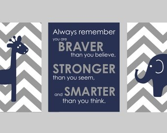 "Navy and Gray Chevron Nursery Set - Always Remember You are Braver - Initial/Monogram - Elephant And Giraffe Prints - Set of three 8""x10""s"