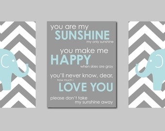 "Chevron Nursery Elephant Nursery Modern Nursery Prints Elephant Chevron You are my Sunshine - Baby Boy Nursery- three 8""x10"" print"