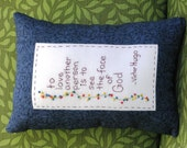 Les Miserables - Victor Hugo Quote - Hand Embroidered Tuck Pillow