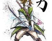 Zelda Japanaese calligraphy art 4-Piece Set Link Ganon Zelda 8x10 PRINTS by Mycks