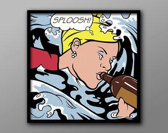 Sploosh! //  Lichtenstein Inspired Archer Quote and Geek Print // Midcentury Style, Pop Art Poster