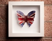 Beautifully British: Framed Union Jack Paper Butterfly