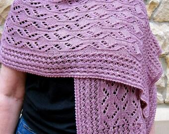 Knit Wrap Pattern:  Snowflake Lace Shawl Knitting Pattern