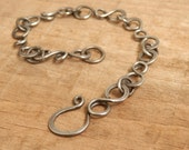 Hand Forged Steel Bracelet, Hand Made Chain Link Bracelet, Men Women, Forged Triple Circle Link Chain
