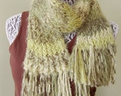 SCARF- hand knit- olive green stripes, fringed