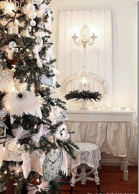 Christmas White Feather ANGEL WINGS Ornament Decoration Shabby