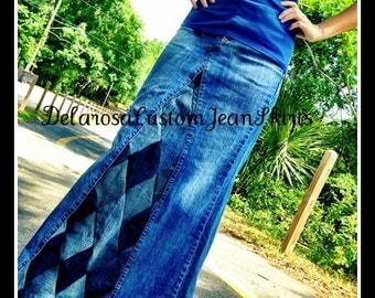 DELAROSA Diamond Patchwork Long Jean Skirt Custom Your Size  choose your size and length