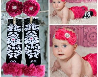 Baby headband and leg warmers SET, Pink Baby Headband, Pink ruffled Legwarmers, Baby Headbands, Baby leg warmers,Girl Legwarmers, Hair Bows.