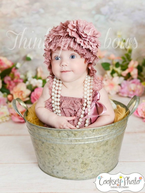 Baby Lace hat bonnet, newborn infant baby girl lace hat bonnet, baby bonnet,Mauve lace hat  M2M petti lace romper in our shop.
